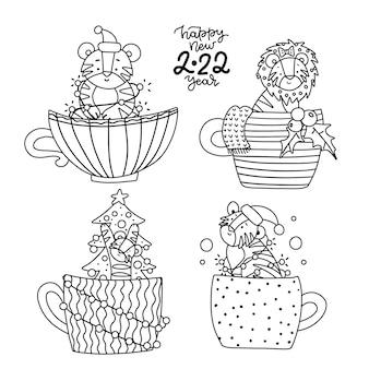 手描きのライナースタイルの新年の着色ページの小さな虎のシンボルは、白い線画に黒を設定します。