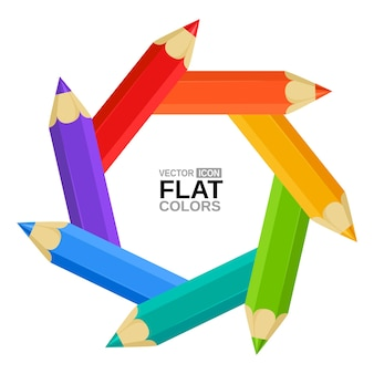 Символ радужной оболочки фотоаппарата с цветными карандашами