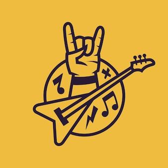 로큰롤의 상징. 흑백 스타일의 록 음악의 컨셉 아트입니다.
