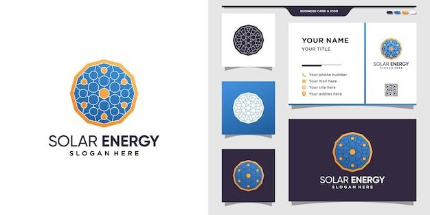 ドットスタイルの太陽エネルギーロゴのシンボル。ロゴテンプレートと名刺デザイン