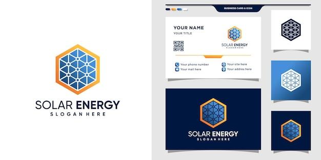 六角形のスタイルで太陽エネルギーのロゴのシンボル。ロゴテンプレートと名刺デザイン