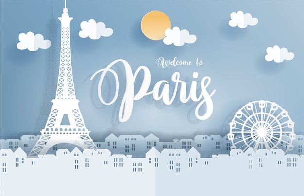 Symbol of paris in paper cute style