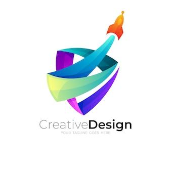 シンボルロケットのロゴとカラフルなデザインイラスト