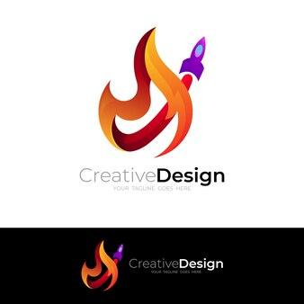 シンボルロケットのロゴと火のデザインの組み合わせ、カラフルなスタイル