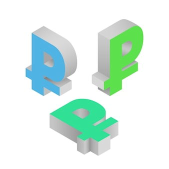 Symbol ruble currency. isometric icons. vector 3d illustration.