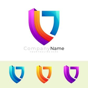 Symbol shield logo and colorful design template