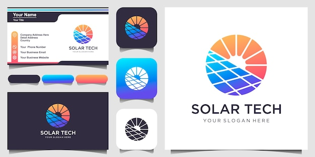 Symbol sun solar energy logo design template and business card design