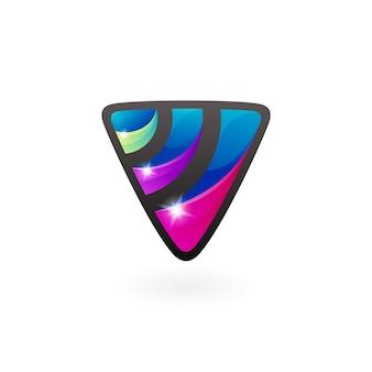 カラフルな三角形のデザイン、3dスタイルのシンボルvロゴ