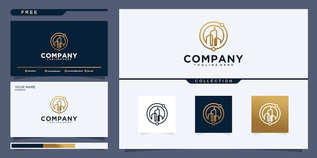 Symbol vector of building and property logo template with creative line art icon. logo design and business card