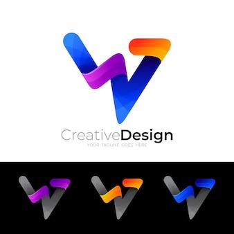シンボルwロゴと3dカラフルなデザインテンプレート