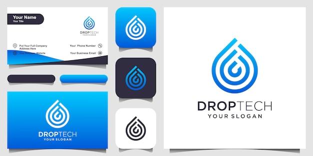 ラインアートスタイルでシンボル水。モバイルコンセプトとwebのラインアートスタイルの液滴。ロゴと名刺デザインのセット