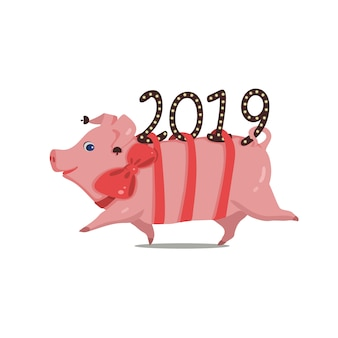 Symbol of the year funny pig running from 2019