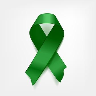 Symbolic green crossed ribbon on white background. problem of cerebral palsy, lyme disease problem, kidney cancer problem. illustration.