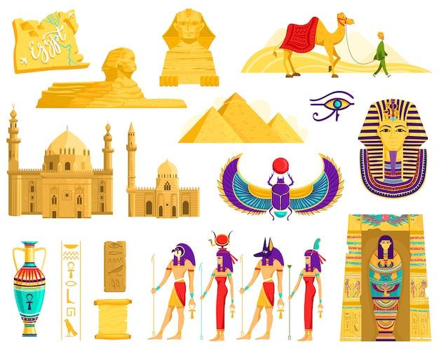 Symbols of ancient egypt, architecture and archeology landmarks  on white,  illustration