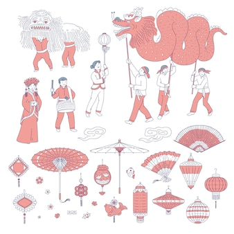 Symbols chinese new year people in traditional costumes.  line art set lanterns talismans for holiday home decoration. national celebration parade and symbols of china culture.