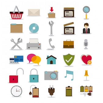 Symbols design over white illustration