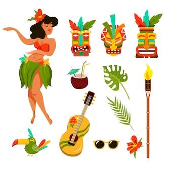 Simboli del set di illustrazioni delle hawaii