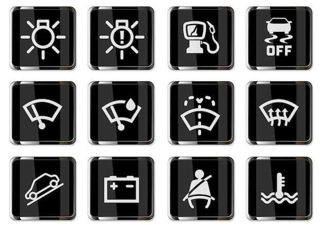 Symbols icons set isolated for car interface design. pictograms in black chrome buttons.