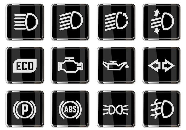 Набор иконок символов изолирован для дизайна интерфейса автомобиля. пиктограммы в черных хромированных кнопках.