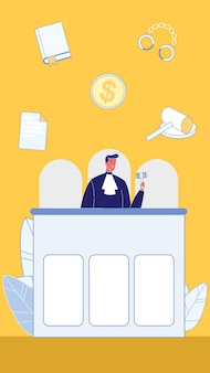Symbols of law and order flat vector illustration