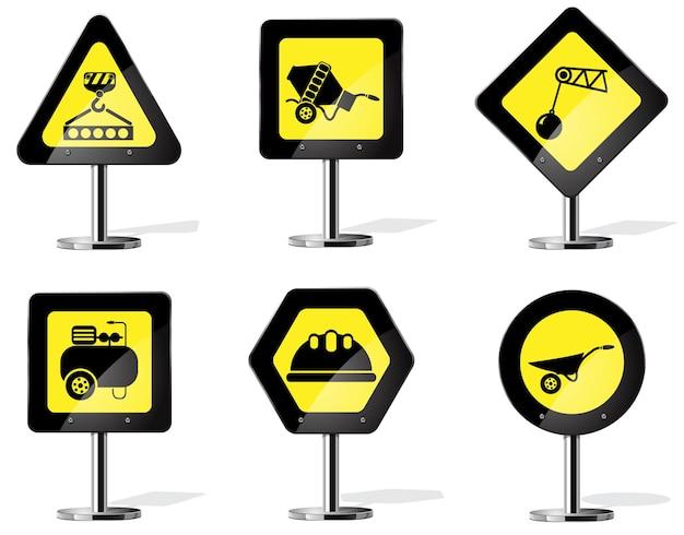 Символы строительной техники на дорожном знаке