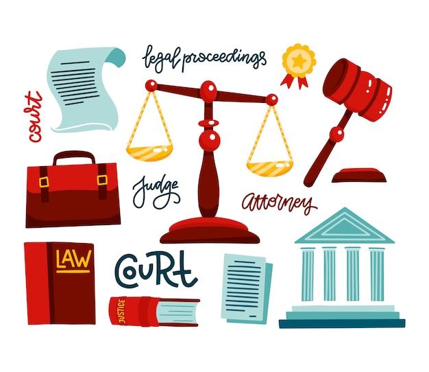 法的規制のシンボル。法人のアイコンを設定します。司法、裁判、判決、法律、小槌。裁判官ポートフォリオ、裁判所。手描きの法的手続きをレタリングフラットベクトルイラスト