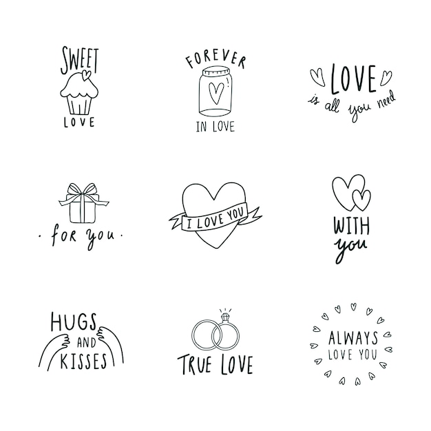 Символы любви набор иконок вектор