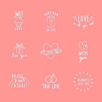 Symbols of love icon set vector