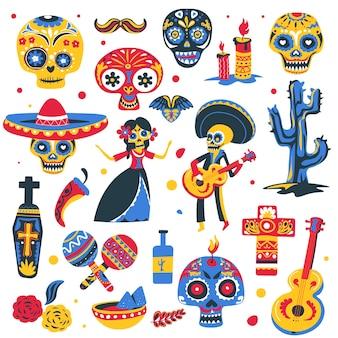 죽은 자의 멕시코 휴일의 상징. 의상, 마라카스와 솜브레로, 전통 식사와 콧수염을 착용한 악기가 있는 해골. 관과 십자가, 평면 스타일의 calavera 벡터