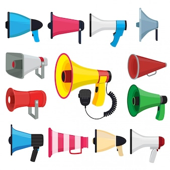 Symbols for promotion and announce. vector pictures of loud speakers