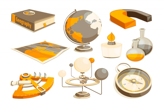 Symbols of science and geography