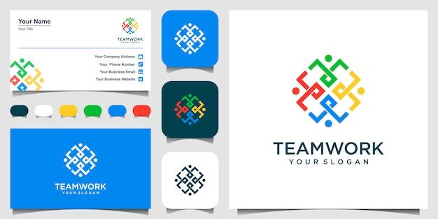 팀으로 일하고 협력하는 상징. 이 로고 템플릿은 그룹 또는 사람들의 팀에서 단합과 연대를 나타낼 수 있습니다. 로고 및 명함.