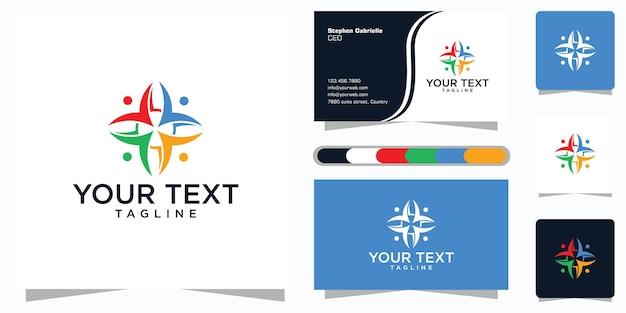 Символы работают в команде и сотрудничают. единство и солидарность в группе или коллективе людей. логотип и визитка