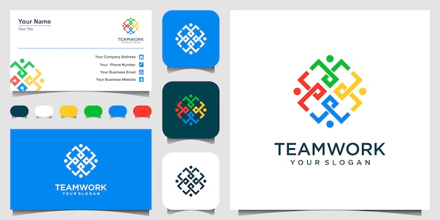 Symbols working as team and cooperating. this  logo template can represent unity and solidarity in group or team of people. logo and business card.