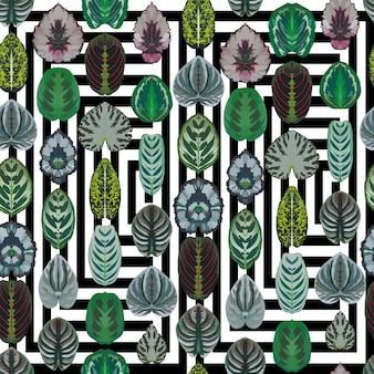 Symmetric begonia leaves seamless vector pattern geometric