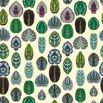 Symmetric begonia leaves seamless vector pattern