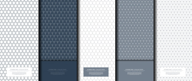 Symmetric collection abstract pattern hexagonal geometric navy background