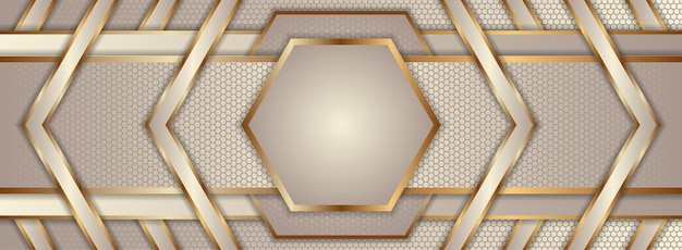 Symmetric design of abstract geometric horizontal layout. soft brown and gold gradient colors combination.