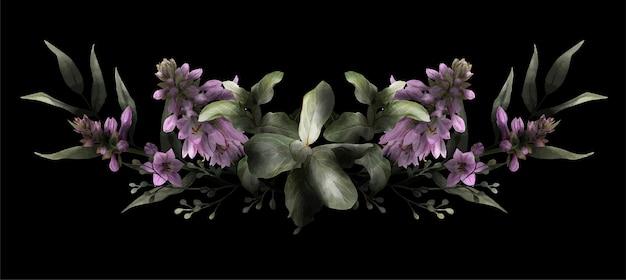 Symmetric floral arrangement drawn in low key, black background, hosta flowers and leaves, hand drawn watercolor illustration, design element.