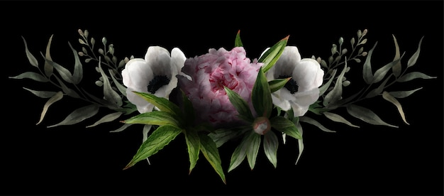 Symmetric floral arrangement drawn in low key, black background, pink peony, white anemones and leaves, hand drawn watercolor illustration, design element.