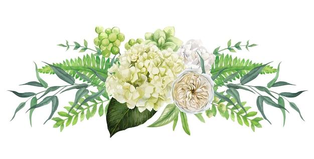 バラと対称的な青々とした白い花の花束