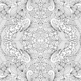 Symmetric outline ornamental floral pattern