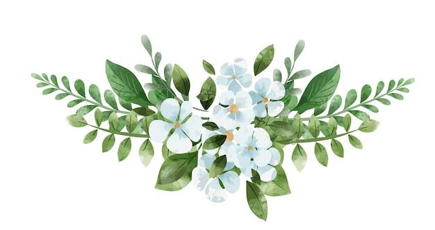 対称的な白い花と緑の花束。手描きの水彩イラスト。