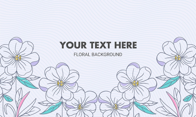 対称色の手描きの自然な花の背景
