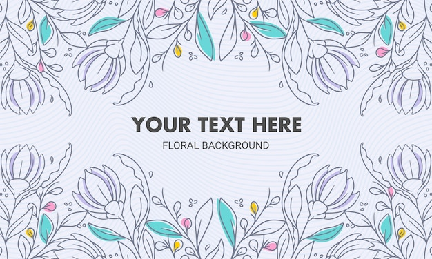 Symmetrical colored hand drawn natural floral background