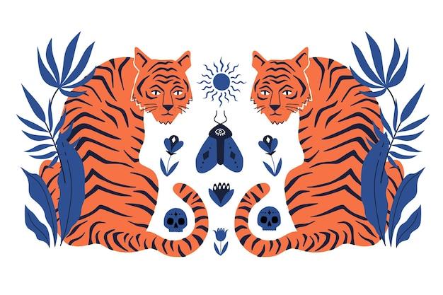 Симметричный концепт с тиграми и элементами мистического бохо. рисованной векторные иллюстрации.