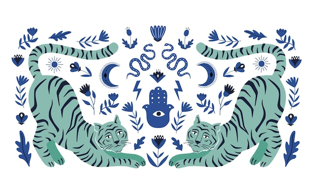 Symmetrical concept with  tigers and mystical boho elements. hand drawn vector illustration.