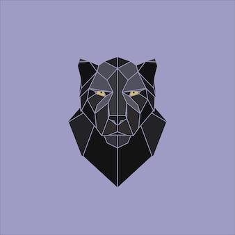 対称的な幾何学的なベクトル図黒豹
