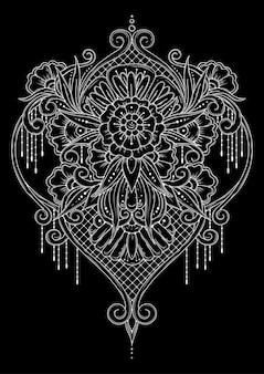 対称的な飾り。黒と白のぬりえ。