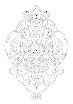 対称飾り、花ぬりえ